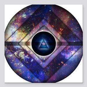 """Center of Existence Square Car Magnet 3"""" x 3"""""""