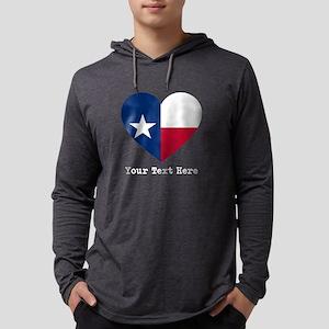 Custom Texas flag Heart Mens Hooded Shirt
