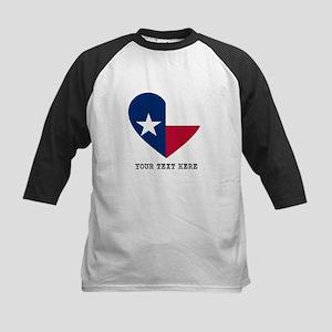 Custom Texas flag Heart Kids Baseball Tee