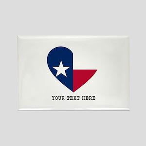 Custom Texas flag Heart Rectangle Magnet