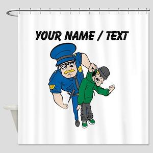 Policeman Arresting Criminal Shower Curtain