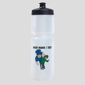 Policeman Arresting Criminal Sports Bottle