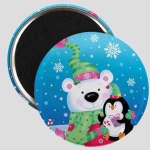 Polar Bear And Penguin Round Magnet