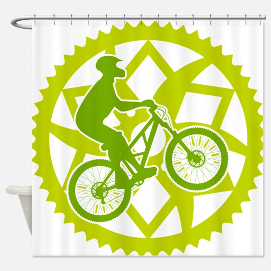 Unique Mountain biking Shower Curtain