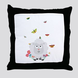Sheep with flowers and butterflies C1 Throw Pillow