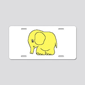 Funny cross-stitch yellow elephant Aluminum Licens