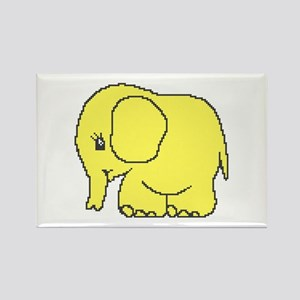 Funny cross-stitch yellow elephant Rectangle Magne