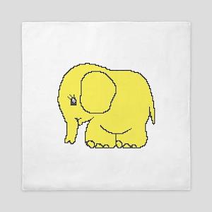 Funny cross-stitch yellow elephant Queen Duvet