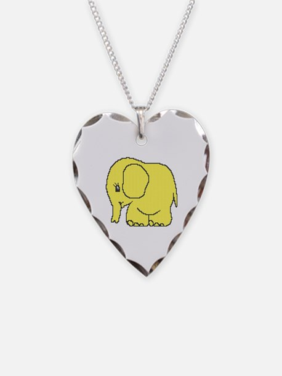 Funny cross-stitch yellow elephant Necklace