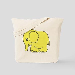 Funny cross-stitch yellow elephant Tote Bag