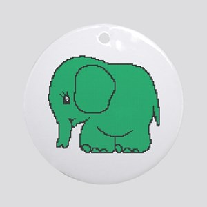 Funny cross-stitch green elephant Ornament (Round)