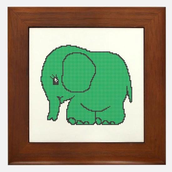 Funny cross-stitch green elephant Framed Tile