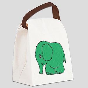 Funny cross-stitch green elephant Canvas Lunch Bag