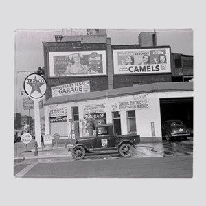 Garage and Gas Station, 1940 Throw Blanket