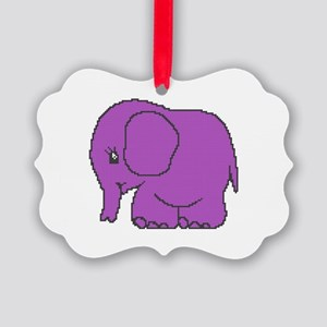 Funny cross-stitch purple elephant Picture Ornamen
