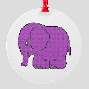 Funny cross-stitch purple elephant Round Ornament