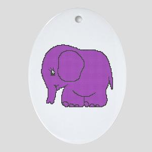 Funny cross-stitch purple elephant Ornament (Oval)