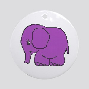 Funny cross-stitch purple elephant Ornament (Round