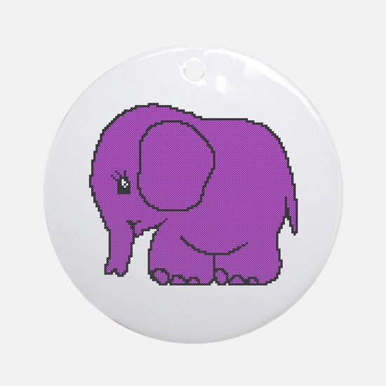 Funny cross-stitch purple elephant Ornament (Round