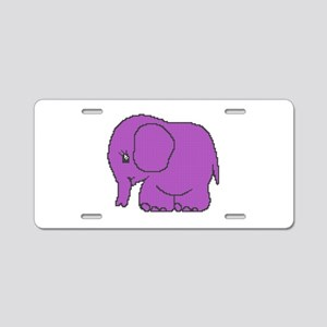 Funny cross-stitch purple elephant Aluminum Licens