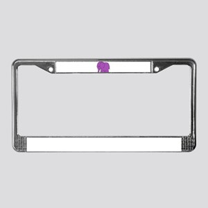Funny cross-stitch purple elephant License Plate F