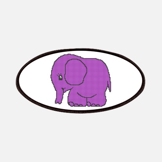 Funny cross-stitch purple elephant Patches