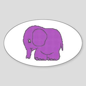 Funny cross-stitch purple elephant Sticker (Oval)
