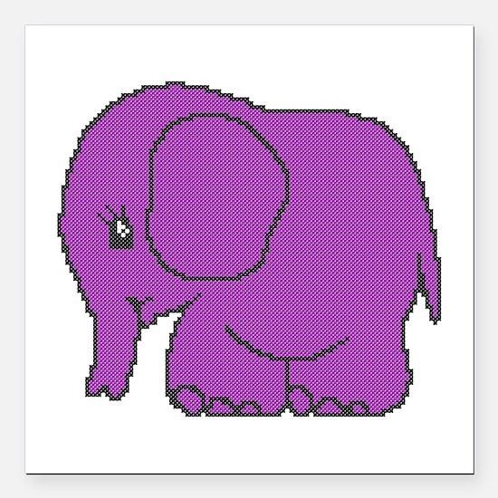 Funny cross-stitch purple elephant Square Car Magn