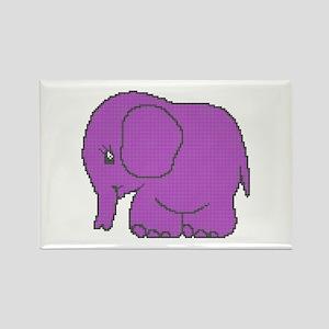Funny cross-stitch purple elephant Rectangle Magne