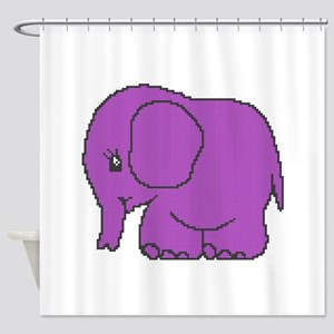 Funny cross-stitch purple elephant Shower Curtain
