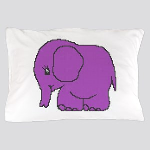 Funny cross-stitch purple elephant Pillow Case