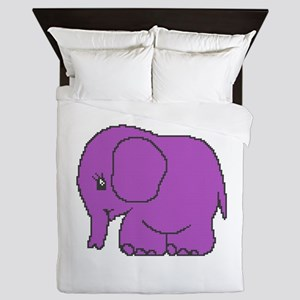 Funny cross-stitch purple elephant Queen Duvet