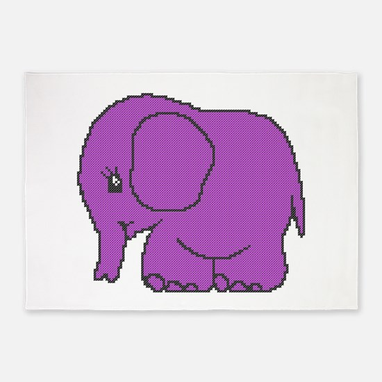Funny cross-stitch purple elephant 5'x7'Area Rug