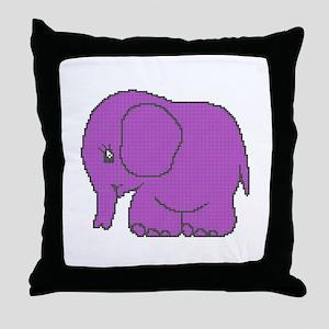 Funny cross-stitch purple elephant Throw Pillow