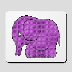 Funny cross-stitch purple elephant Mousepad