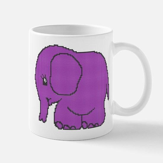 Funny cross-stitch purple elephant Mug