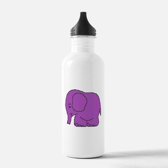 Funny cross-stitch purple elephant Water Bottle