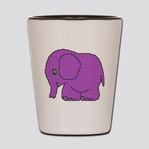 Funny cross-stitch purple elephant Shot Glass