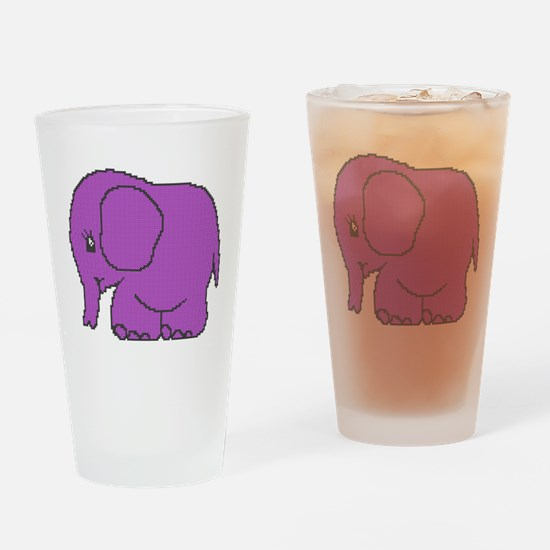 Funny cross-stitch purple elephant Drinking Glass