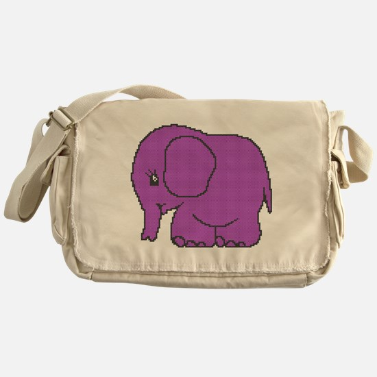 Funny cross-stitch purple elephant Messenger Bag