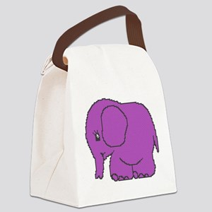 Funny cross-stitch purple elephant Canvas Lunch Ba