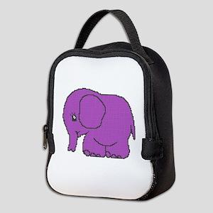 Funny cross-stitch purple elephant Neoprene Lunch