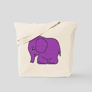Funny cross-stitch purple elephant Tote Bag