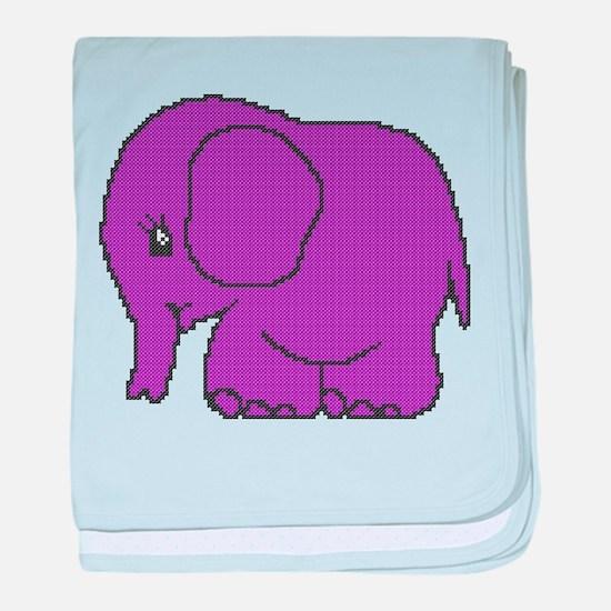 Funny cross-stitch purple elephant baby blanket