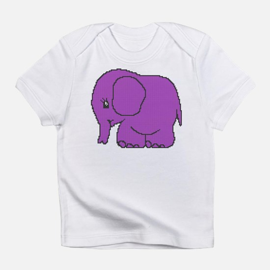 Funny cross-stitch purple elephant Infant T-Shirt