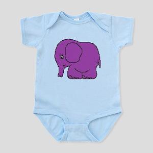 Funny cross-stitch purple elephant Infant Bodysuit