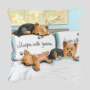 Sleeps with Yorkies Woven Throw Pillow