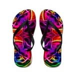 Rainbow Rose Kaleidoscope Flip Flops