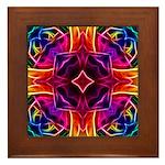 Rainbow Rose Kaleidoscope Framed Tile