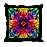 Rainbow Rose Kaleidoscope Throw Pillow